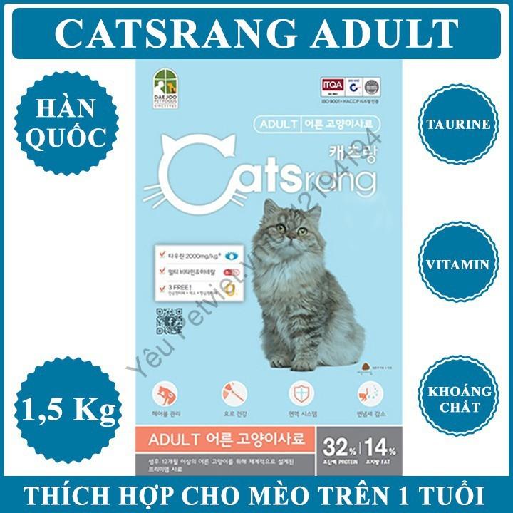 THỨC ĂN CHO MÈO LỚN Catsrang Adult Gói 1,5kg hỗ trợ tiêu búi lông tránh mèo bị tắc ruột