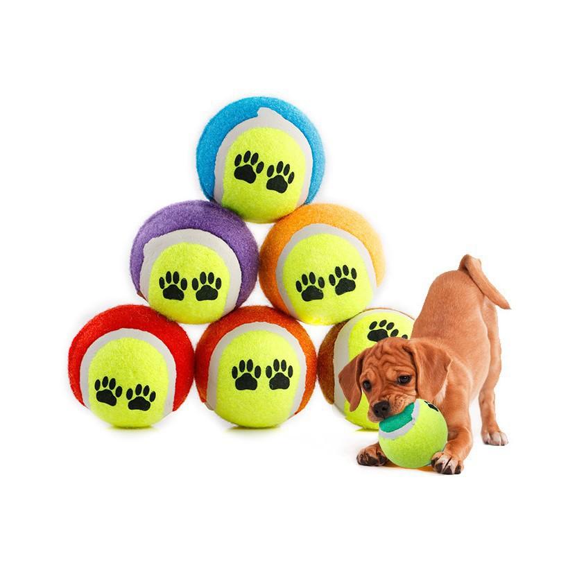 Hanpet- Đồ chơi chó mèo Bóng tennis in hình dấu chân dễ thương cho thú cưng