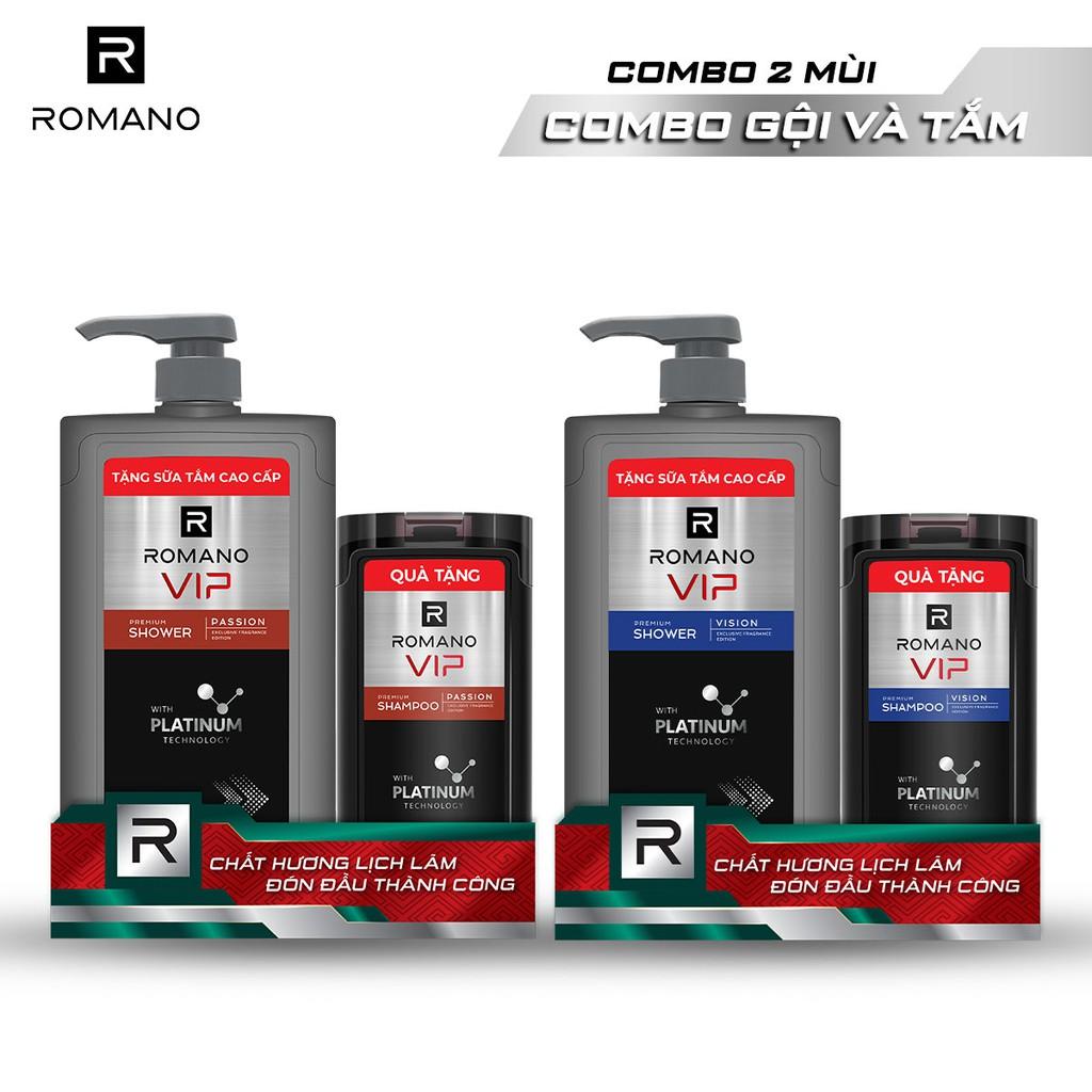 Sữa tắm cao cấp Romano Vip 650g + Dầu gội Vip 150g