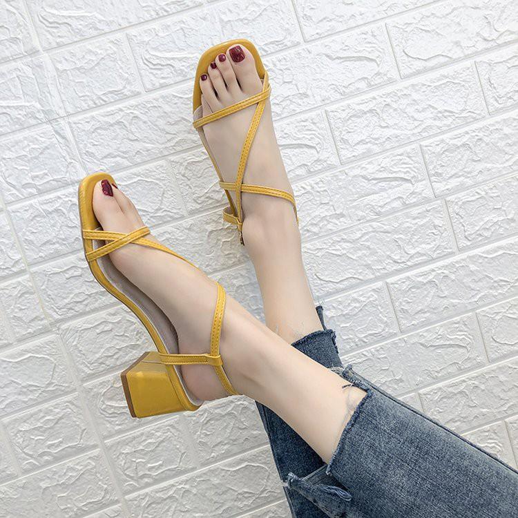 Roman sandals women's thick heels women's shoes wild students square head strap sandals