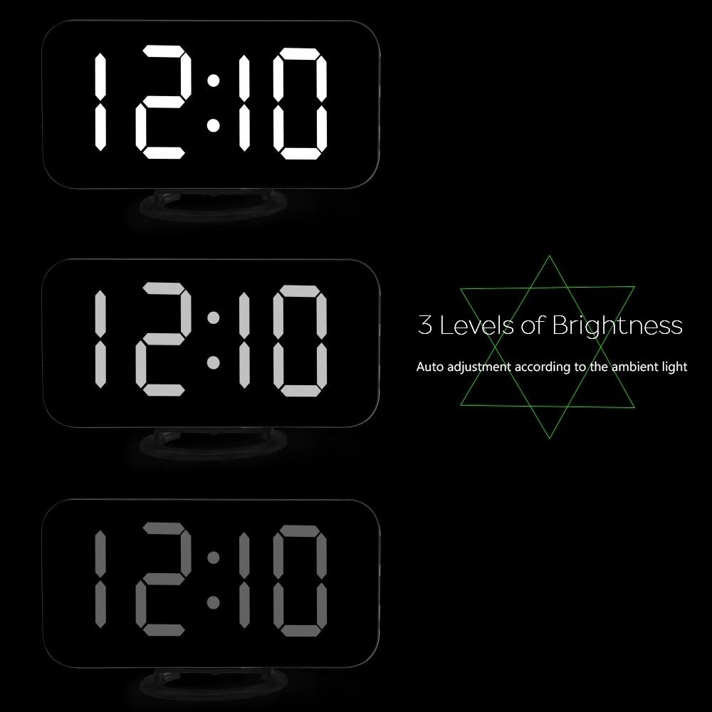 LED Clock Voice Control Electronic Snooze Backlight Desktop Digital Clocks ★ARAN