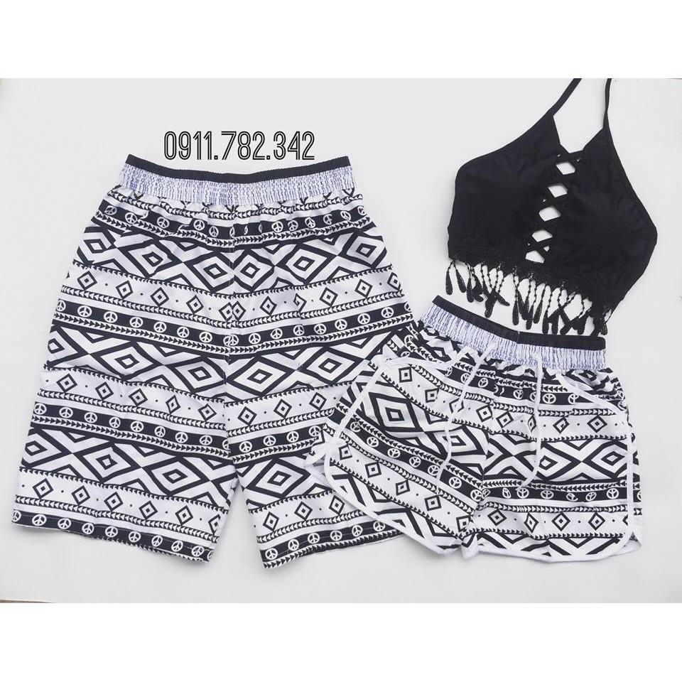 Cặp quần đôi nam nữ mặc đi biển sóng đen trắng đẹp chất dù( 100% như hình)