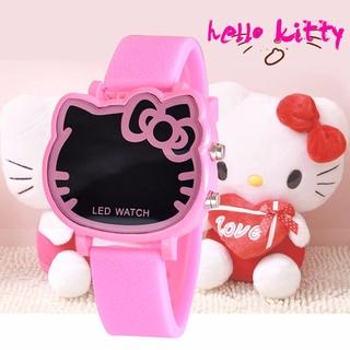Đồng hồ đeo tay điện tử tạo hình mèo hello kitty có đèn led phối dây silicone thời trang dành cho bé gái