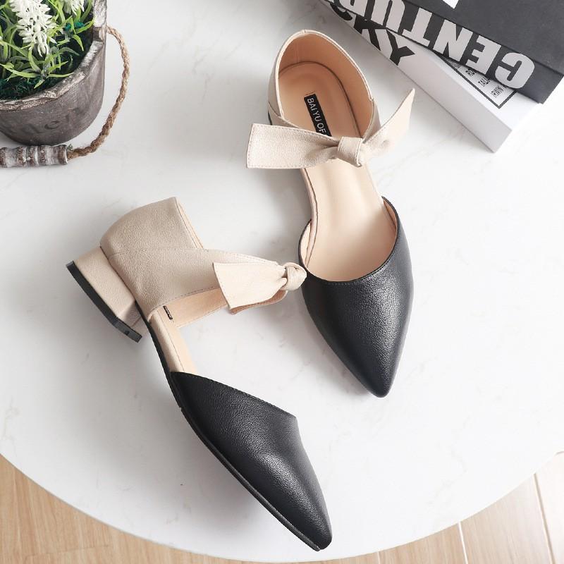 [FORM RỘNG 1 SIZE] giày mũi nhọn da mềm quai ngang thắt nơ xinh