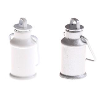 ☆VN 1:12 Dollhouse Miniature Milk Jars Barrel With Lids Kitchen Milk Can Bucket