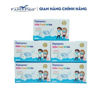Combo 5 hộp khẩu trang y tế trẻ em kháng khuẩn 3 lớp Famapro max kid ( 50 cái hộp ) thumbnail