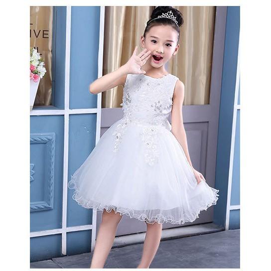 Váy Đầm công chúa đính hoa 3D bé gái size 13-30kg-HÀNG QCCC