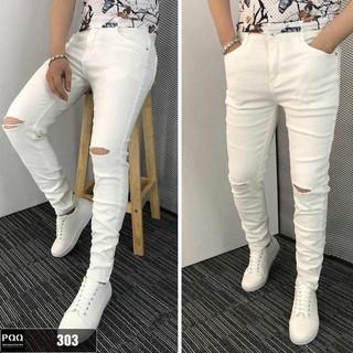 Quần jean nam trắng rách gối dáng slim fit