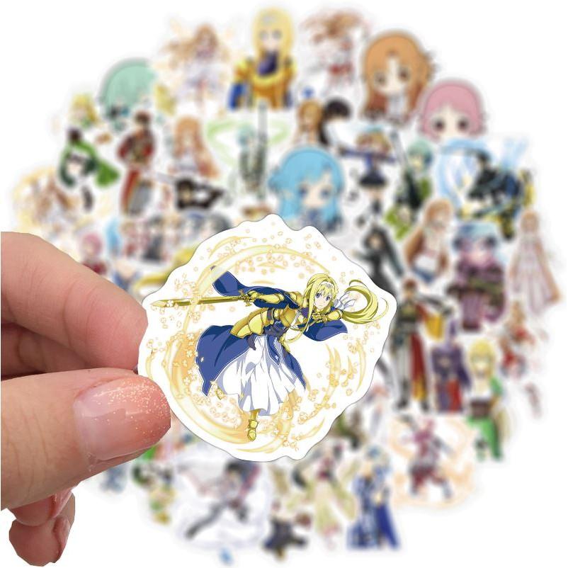 Sticker New Anime Sword Art Online nhựa PVC không thấm nước, dán nón bảo hiểm, laptop, điện thoại, Vali,xe #208