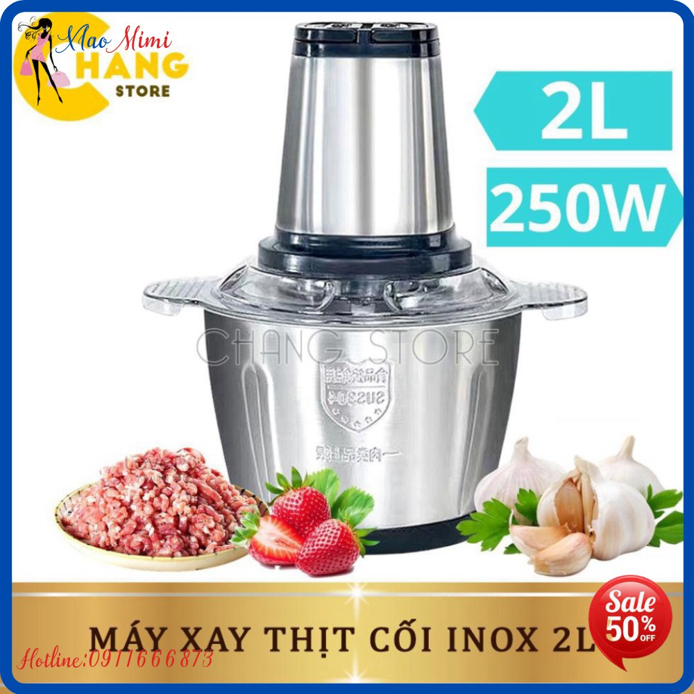 (HOTTREND 2021) Máy Xay Thịt Đa Năng Cối INOX 304 2L Công Suất 250W, 4 Lưỡi, Cối xay thực phẩm Đa Năng Siêu Bền0
