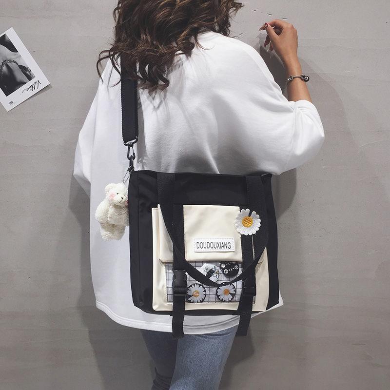 Túi Xách Canvas Họa Tiết Hoa Cúc Phong Cách Nhật Bản 2020 Cho Nữ
