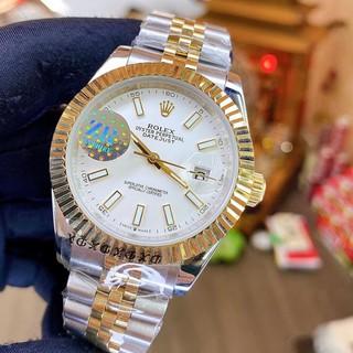 Đồng hồ Nam Rolex máy nhật, mẫu classic, mặt trắng viền vàng, dây kim loại, dòng cơ Automatic size 39mm-40mm thumbnail