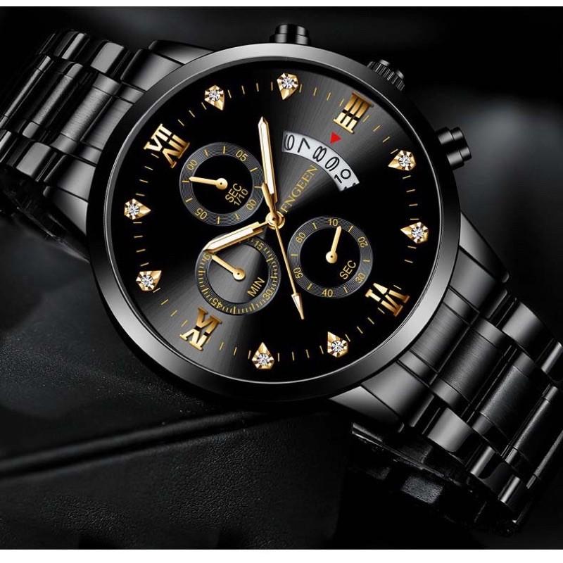 Đồng hồ nam FNGEEN F5008 mặt đính đá lịch ngày sang trọng đẳng cấp chống thấm nước dâ