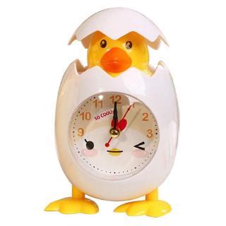 Đồng hồ báo thức hình quả trứng nhựa màu trắng phối vàng dễ thương