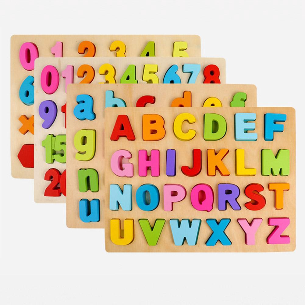 Double-sided Wooden Puzzle Number Letter Early Education Toy