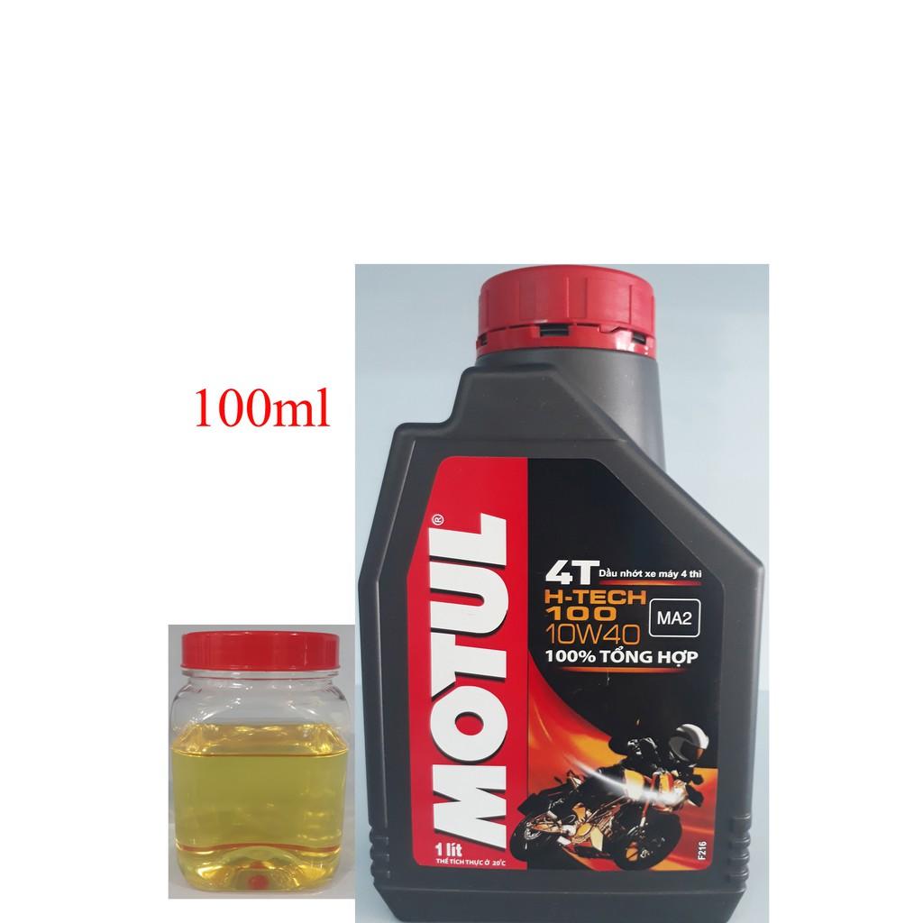Dầu nhớt tổng hợp xe số và xe tay côn Motul H-tech 100 10W-40 100ml