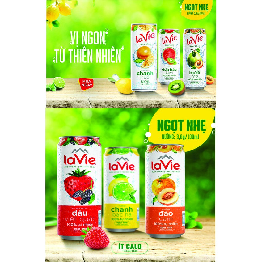 1 Lon nước có ga Lavie Sparkling vị trái cây Chanh bạc hà/Chanh muối/Bưởi mơ/Dưa hấu kiwi/Dâu việt quất/Đào cam 330ml