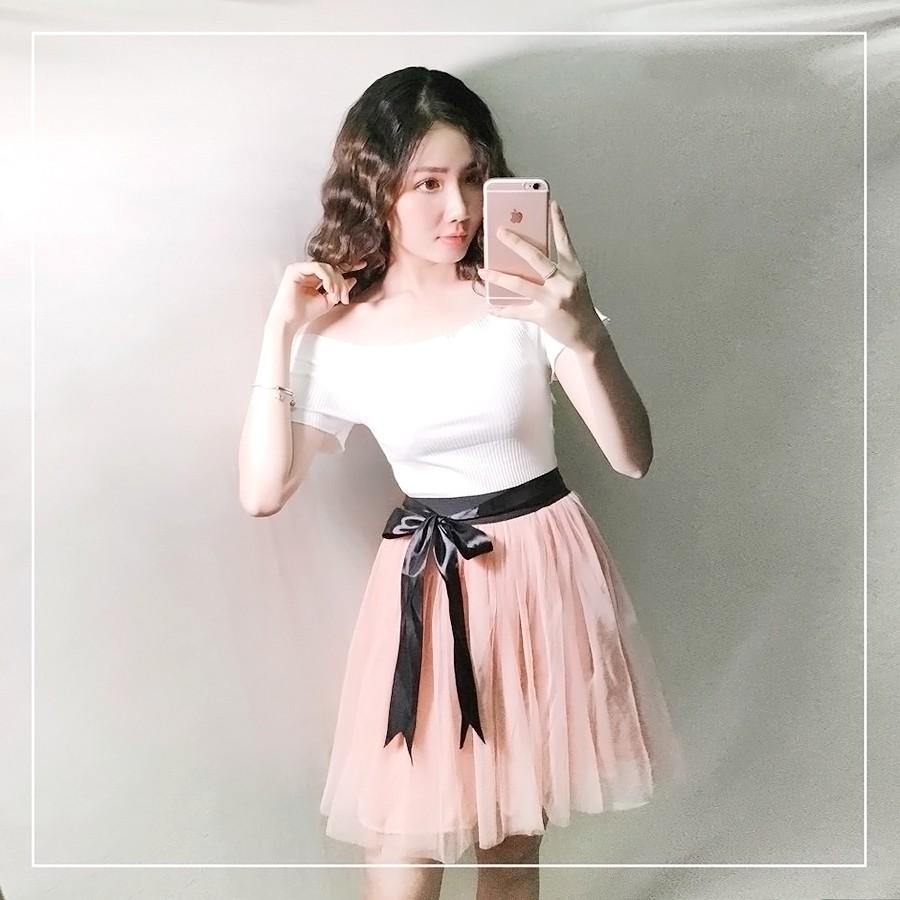 Chân váy lưới ngắn thắt nơ công chúa hồng