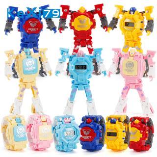 Cartoon Transformable Robot Electronic Wristwatch Digital Display Watch Child Boy Girl Toy