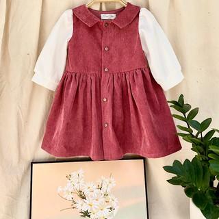 Váy Thu Đông Bé Gái⚜️5-14 tuổi⚜️ Đầm Trẻ Em Vải Nhung Tằm Hồng Đầm Em Bé Cao Cấp - Váy thiết kế cho bé