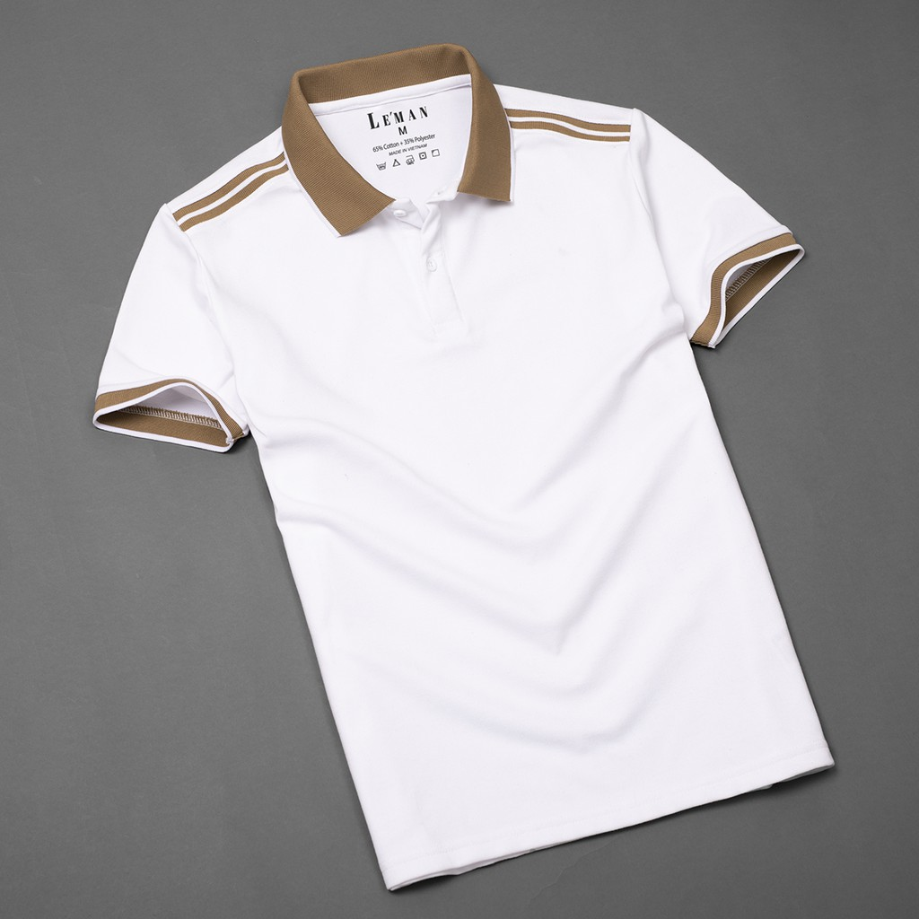 Áo thun polo nam thiết kế phối sọc đơn giản, màu nâu nổi bật, Basis APL138