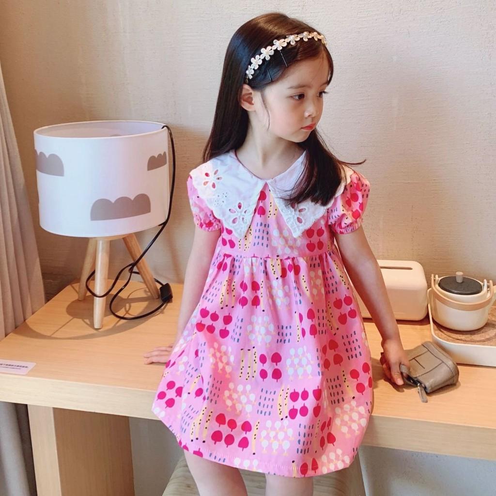 Váy bé gái, đầm công chúa cho bé gái vải thô Hàn đèn lồng hồng phối cổ bèo trắng trẻ em mùa hè SEKA KIDS - 2102.16