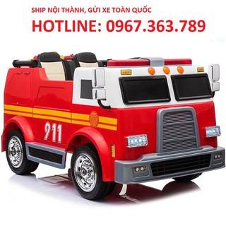 Ô tô xe điện cứu hỏa LL 911 đồ chơi vận động cho bé 2 động cơ 2 ghế da