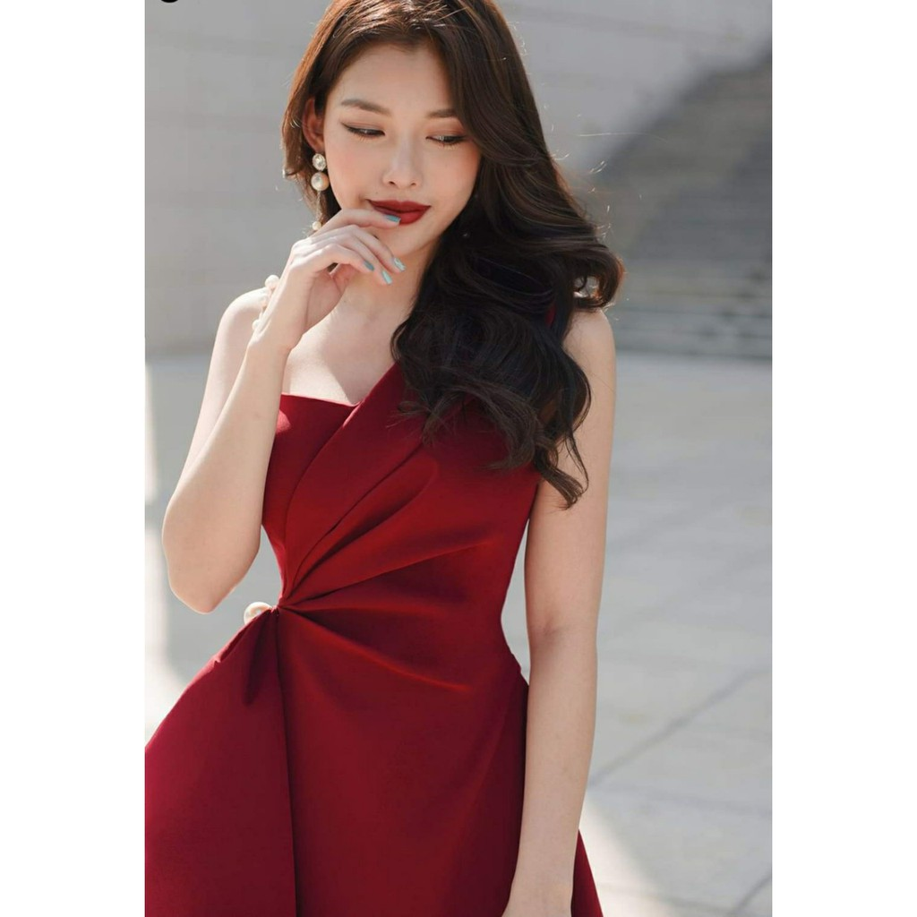 Mặc gì đẹp: Sang chảnh với Đầm dự tiệc 1 dây vai đính chuỗi sang trọng Vải cam kết loại 1 [ĐẦM 1VAICUOM