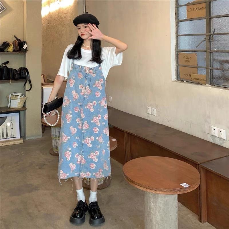 [SẴN] Váy Yếm Jeans Dài Hoạ Tiết Vintage Đủ Size