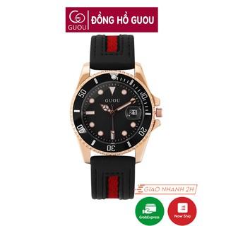 Đồng hồ nữ đeo tay dây da Guou viền mạ vàng chính hãng chống nước tuyệt đối 8077 thumbnail