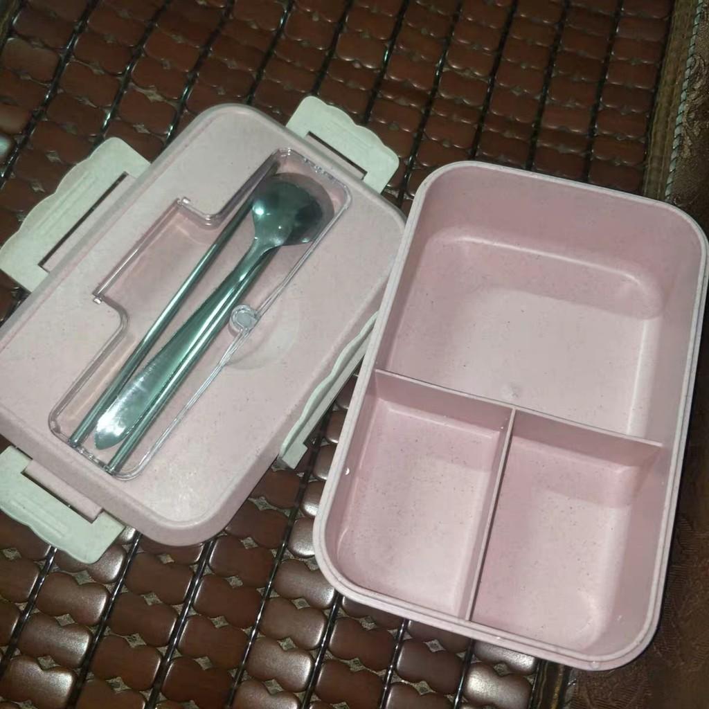 [3 ngăn] Hộp Cơm 1000ML Nhựa Lúa Mạch Kèm Đũa Thìa Muỗng HĐC03