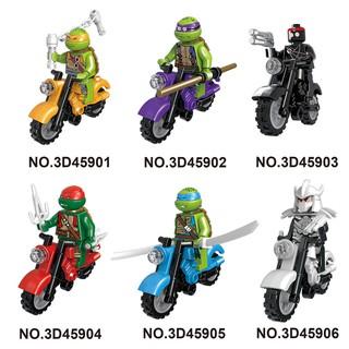 Bộ 6 đồ chơi lắp ráp nhân vật ninja rùa lái xe mô tô ngộ nghĩnh
