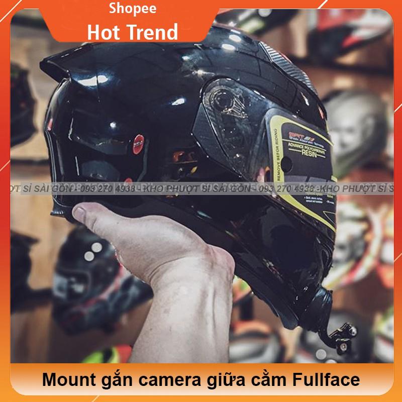 Mount gằn cằm cho camera Eken H9r, Gopro, Sj cho mũ nón bảo hiểm Fullface YOHE 978 - Pat gắn giữa cằm cho Fullface