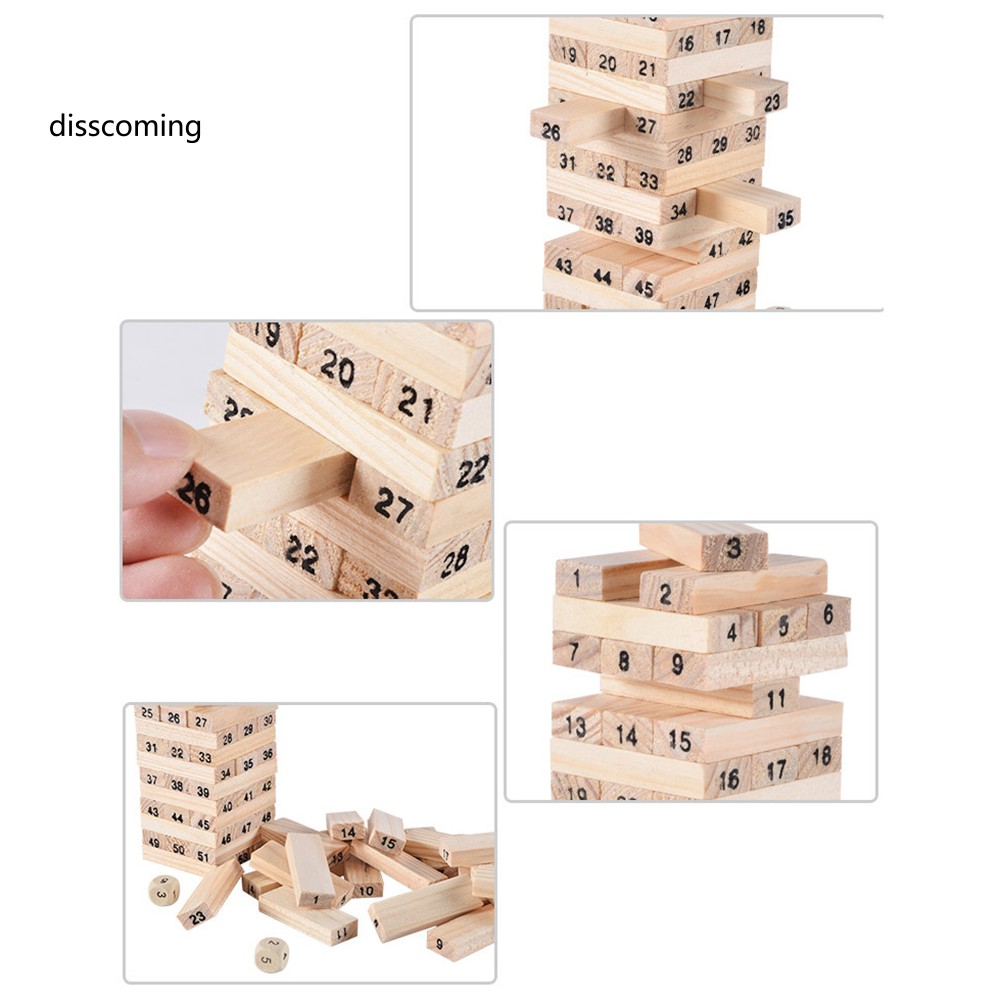 54Pcs Wooden Tower Toy Set Stacker Board Building Blocks Educational Kids Gifts