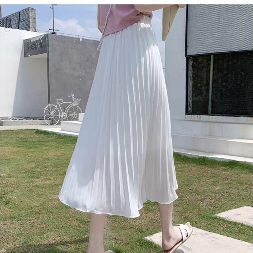 ⭕SẴN || Chân váy dáng dài dập ly basic đơn giản dễ phối đồ ULZZANG (Hình thật)