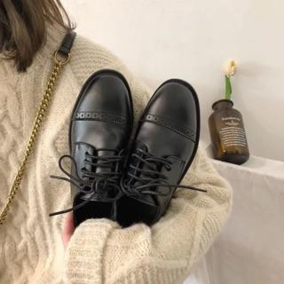 CÓ SẴN giày vintage dây đen thêu ngang mã 005