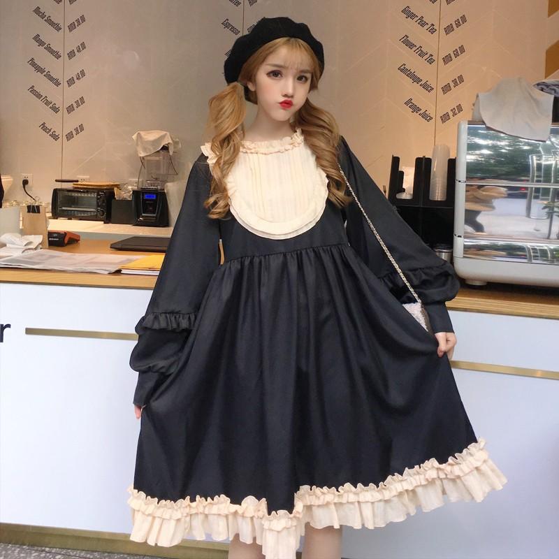 1916782538 - Váy đầm lolita trơn cổ doll