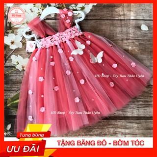 Đầm công chúa cho bé❤️FREESHIP❤️ Đầm công chúa hồng cam phối hồng phấn nhạt đính hoa hồng bướm