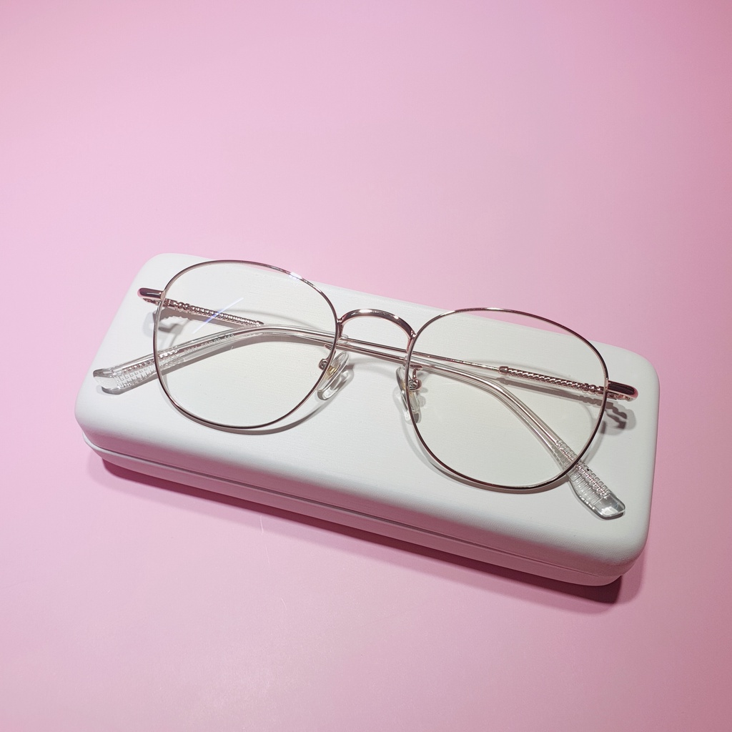 Gọng kính cận kim loại mắt dáng tròn vuông Qiwa Eyewear 5261, Kính cận mắt tròn nữ