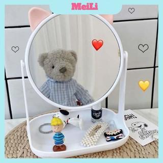 Gương để bàn FREESHIPGương công chúa tai mèo và tai thỏ để bàn xoay 360 độ, đế vuông, để bàn trang điểm (tuyển sỉ)