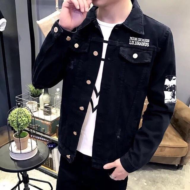 ÁoKhoác Jean Nam Cao Cấp Thêu Chữ Ngực và LoGo vuông tay MS 02 - Áo khoác jeans