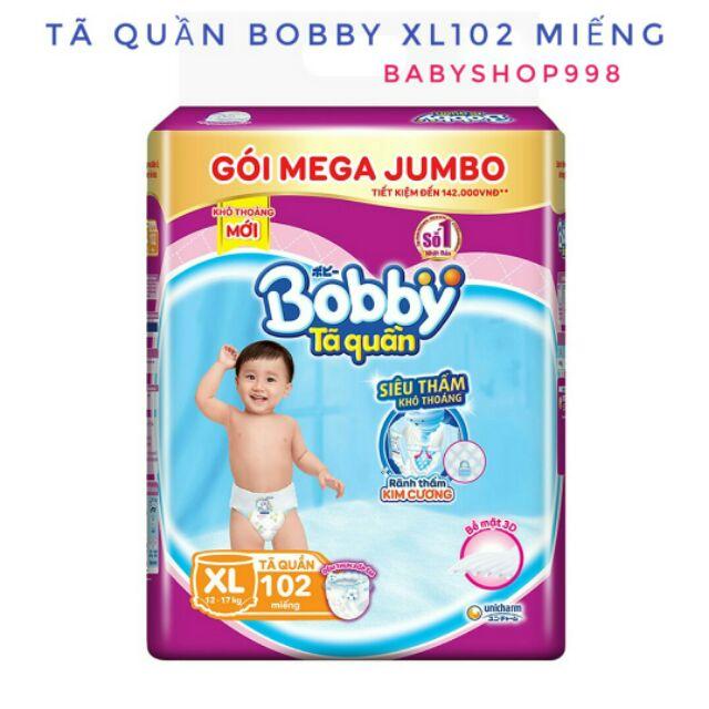 [Đủ size] Tã Quần Bobby Gói Mega Jumbo L111, Xl102, XXL93 Miếng Siêu Đại