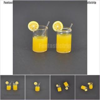 Fantastictrip 2X 1:12 Dollhouse Mini Lemon Water Cup Dollhouse Accessories Toy Mini Decor Gifts