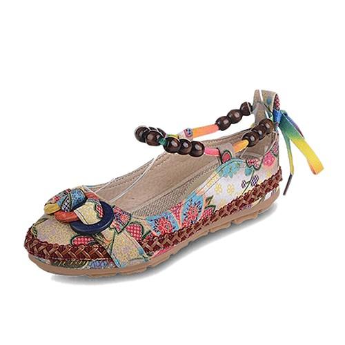 Giày Lười Đế Bằng Mũi Tròn Đính Hạt Phối Dây Thắt Thời Trang Cho Nữ