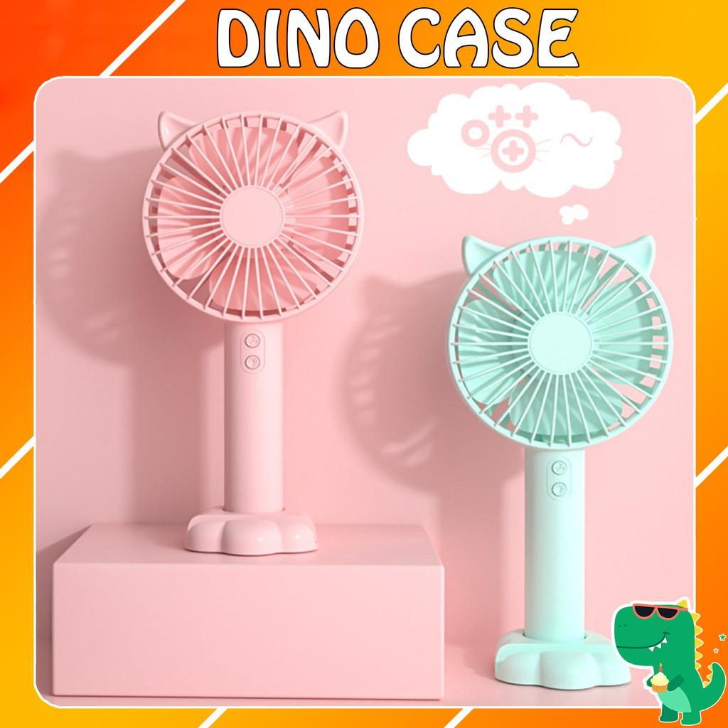 Quạt mini cầm tay tiện dụng handy fan 3 tốc độ gió tai mèo cao cấp N10 có đèn led pin 1200mah