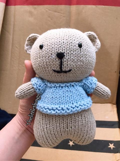 Gấu bông len đan tay. Thú bông đồ chơi cho bé cao 21cm