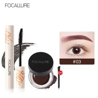 Set Mascara + Gel kẻ Chân Mày FOCALLURE 50.4g Không Thấm Nước Trang Điểm Cho Mắt