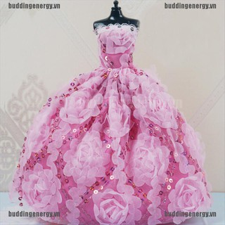 {buddi} Handmade Doll Girl Dressing Wedding Evening Dress Big Tail Princess Dress 30cm Doll Clothes Toy{LJ}