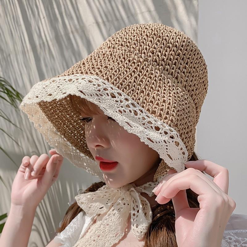 [hàng sẵn] Mũ cói ren đi biển - mũ tiểu thư sang chảnh-shopbelinh