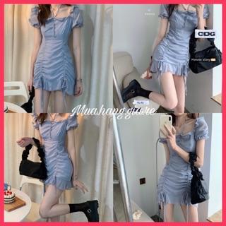 [Mã GIARE giảm 10% đơn 99k] ảnh thật váy Ulzzang phong cách Hàn Quốc order Taobao màu xanh